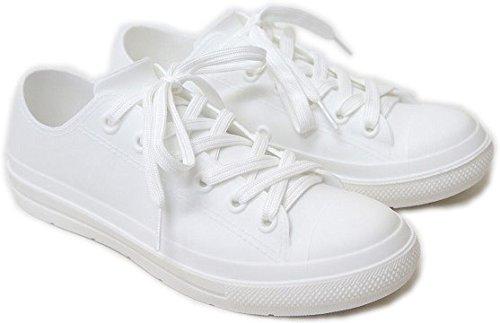 長靴 スリッポン スニーカー レインシューズ レディース ローカット 防水 レインブーツ ngrm040 mzc-011(M(23.5cm) ホワイト)