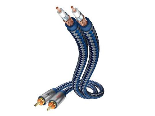 inakustik – 0040403 – Premium Stereo Audiokabel | Für kraftvollen und dynamischen Klang dank eines hohen Kupfergehaltes | 3,0m in Blau | 2-fache Abschirmung - Vollmetallstecker - moderner Geflechtschirm