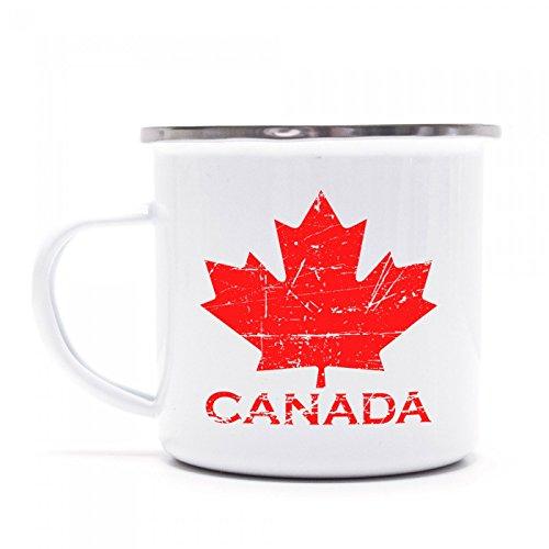 Canada Maple Leaf #4 Emaille-Tasse | Kanada | Flagge | Ahornblatt | Kaffeetasse | Metall-Becher © Shirt Happenz, Farbe:weiß mit Silberrand;Größe:onesize