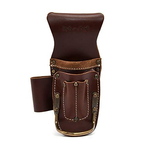 Style N Craft 98016 5 Pocket Pliers & Hammer Holder in Dark Tan Top Grain Leather