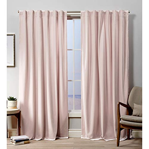 Exclusive Home Curtains Velvet Hidden Tab Top Curtain Panel, 52x96, Blush, 2 Panels