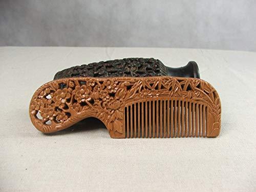 THTHT Acajou Naturel Lady Peigne Antistatique De Brossage des Dents Fines Hommes Barbe 3D Fait Main Sculpture Relief Creux Cerf Nuage Crane Cadeau Exquis