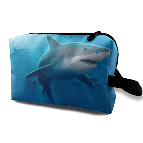 Water Sea Shark Blue Shark Underwater Men & Women Grand-Capacity Cosmetic Travel Storage Bag, Portable Cosmetic Bag Accory Storage Bag