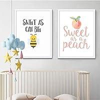 桃の蜂のように甘い引用ポスターとプリントベビーシャワーの装飾水彩画アートキャンバス絵画男の子の女の子の誕生日パーティーのサイン50x70cm-2ピースフレームレス