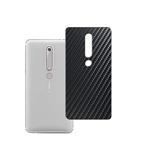 Vaxson 2 Unidades Protector de pantalla Posterior, compatible con Nokia 6 2018, Película Protectora Espalda Skin Cover - Fibra de Carbono Negro