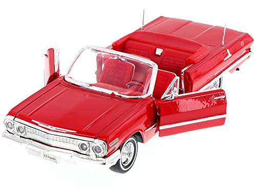 1963 Impala Convertible Red with Red Interior 1/24 Diecast Model Car by Welly 22434