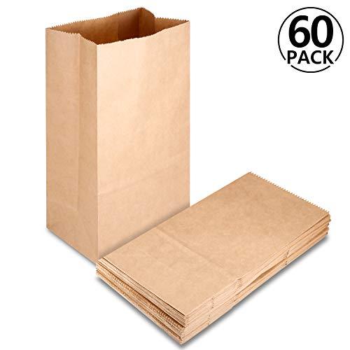 Rymall Braune Papiertüten, 60 kleine Papier-Beutel Kraftpapiertüten, Testaufklebern 12 x 7 x 21 cm 70 g Kraftpapier Adventskalender Ostertüten Brot Belegte Brote verpacken Keks Süßigkeiten