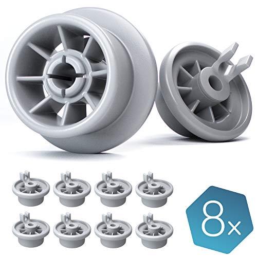 Plemont Spülmaschinen Rollen 8er Set. Universell für viele gängige Bosch, Siemens, Neff etc. Geschirrspüler. Korbrollen Ersatzteile. 2 Jahre Geld zurück