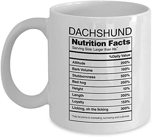 PinkStyle Dachshund Nutrition Facts Coffee Mug Dog Lover Coffee Mug Dachshund Mug Dachshund Gifts Birthday Gits Valentine Gifts Gifts For Christmas men Women 11oz or 15oz White Mug (Muti 14)