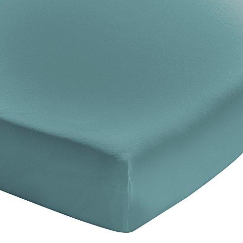 ESSIX Drap Housse, Coton, Bleu Paon, 140x190 cm