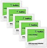 Belkin OVF004zz - Toallitas de limpieza para pantallas 200 unidades (con alcohol isopropílico al 70 %, eliminan las bacterias hasta en un 99 %, para smartphones, tabletas, teclados y otros)