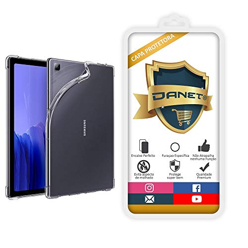 """Capa Protetora Para Samsung Galaxy Tab A7 T505 com Tela de 10.4"""" Polegadas Capinha Case Transparente Air Anti Impacto Proteção De Silicone Flexível - Danet"""