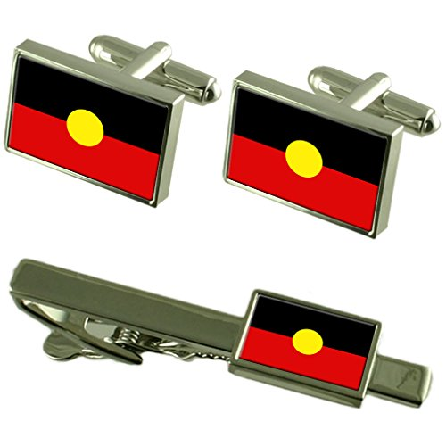 Select Gifts Flagge Aborigines Manschettenknöpfe Krawatten passende Box Set