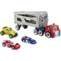 Playskool Heroes Transformers Rescue Bots Academy Road Rescue Team Trailer 4-Pack Converting Toy Robots Collectible Action Figures