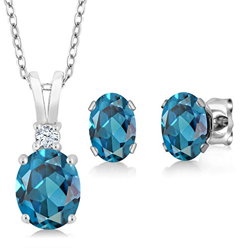 Gem Stone King London Blue Topaz 925 Sterling Silver Gemstone Birthstone Pendant Earrings Set 3.15 Cttw Oval with 18 Inch Silver Chain