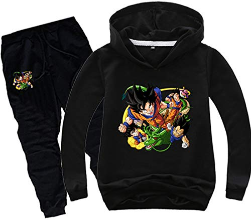 FLYCHEN Jungen Pullover Hosenanzug Dragonball Z Pullover und Schwarze Hose Kakarotto Super Son Goku Muster Druck Sunshine und lebhafter Stil(Schwarz,150)