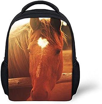 ZHANGWENJIE Cutom Mochila escolar para niños Mochila con estampado de caballo loco 3D para niños, niñas, niños, mochilas para bebés, mochilas de animales ortopédicos para niños, 32 cm x 26 cm x 12 cm