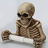 Skull Toilet Paper Holder with Dry Bone Skeleton Style Wall Mount for Bathroom Bedroom Kitchen Halloween Decor