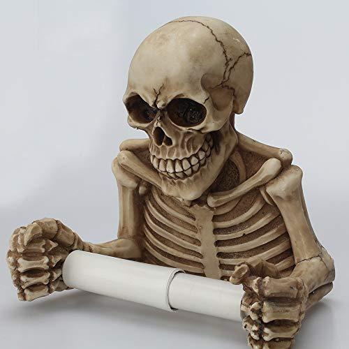Moent Rollenhalter Schädel Toilettenpapier Handtuch Rollenhalter Wandhalterung Knochen Trockenskelett Badezimmer Dekor