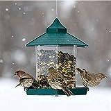 Jouet oiseau Mangeoire extérieure étanche Jardin Décoration Pavillon Vert Mangeoire en Plastique Suspendu Oiseaux récipient de Nourriture