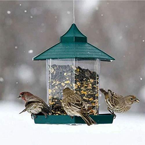 Vogel Im Freien Wasserdichten Bird Feeder-Garten-Dekoration grünen Pavillon Vogelfutterspender aus Kunststoff Hängevogelfutter Container