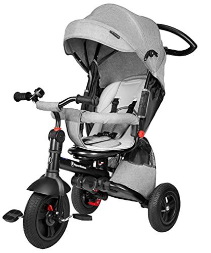 HyperMotion Cochecito triciclo para niños de 12 meses a 5 años (25 kg), cubierta de lluvia, ruedas bombeadas, asiento giratorio, plegable, color gris