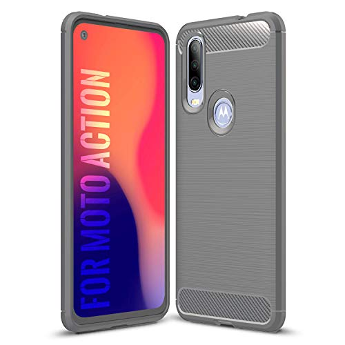 SCL Hülle Für Motorola One Action Hülle Moto One Action Handyhülle Exquisite Serie-Carbon Design Schutzhülle mit Anti-Kratzer & Anti-Stoß Absorbtion Technologie [Grau]