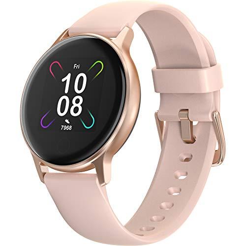 SmartWatch UMIDIGI Uwatch 3S, com monitor de oxigênio no sangue e monitor de ritmo cardíaco para mulheres e homens. 5 ATM rastreador de atividades à prova d'água com bússola para iPhone e Android. (Rosa Ouro)