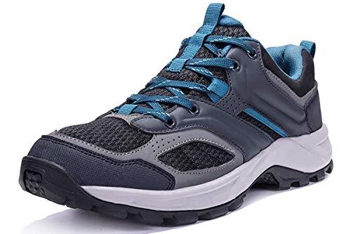 CAMEL CROWN Herren Wanderschuhe rutschfeste Atmungsaktive Trekking-& Wanderhalbschuhe Männer Low Top Outdoorschuhe Traillaufschuhe Bequem Leicht Sports Sneaker Schuhe,Schwarz,42.5 EU