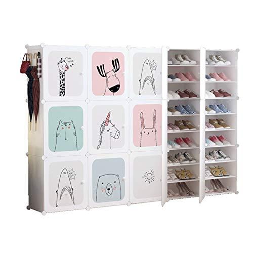 Jklt Práctico zapatero ampliable, portátil, 90 pares de cajas de almacenamiento para zapatos, fácil de usar (color: blanco, tamaño: 204 x 32 x 139 cm)