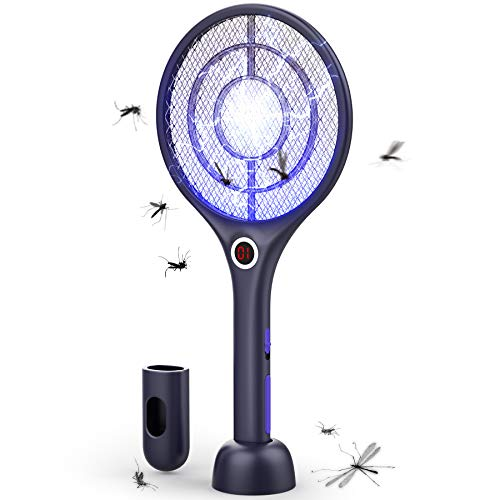 Flashvin Bug Zapper 4000V Powerful Grid Electric Fly Swatter UV Light Mosquito Trap Rechargeable Wireless Mosquito Zapper Mosquito Killer with LED Light and 3-Layer Safety Mesh