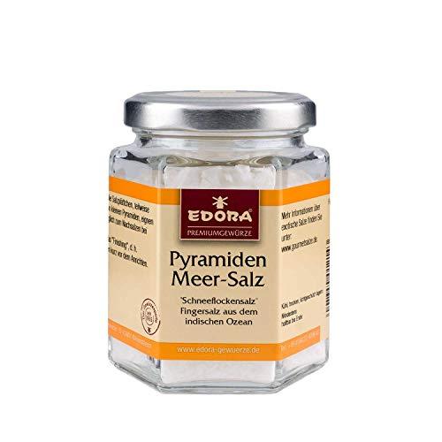 Premium Qualität Gewürz EDORA Schraubglas Pyramidensalz Salz Schneeflockensalz Fingersalz aus dem indischen Ozean 80 Gramm
