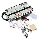 XLING Portable Cosmetic Bag Floral Flower Animal Cow Skull Women Girls Toiletry Wash Gargle Makeup Brush Case Travel Train Zipper Bag Box Organizer