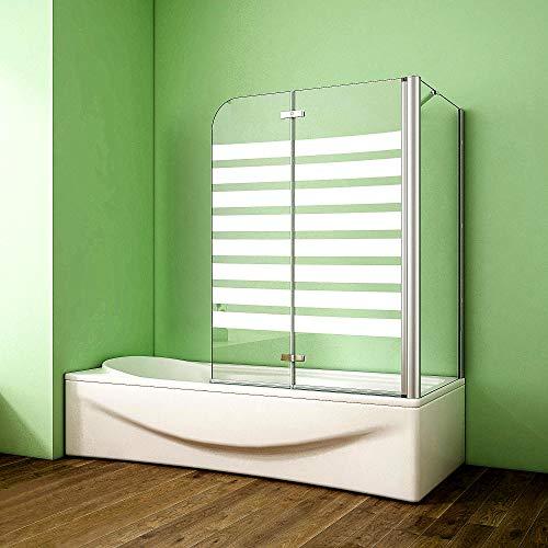 Duschabtrennung Badewannenaufsatz 75x120x140cm Eck Duschwand Badewanne 2-tlg.Faltwand Badewannenfaltwand mit Seitewand 6mm NANO Glas Rechts Gestreifte