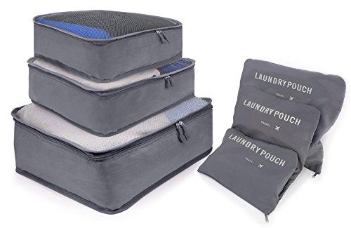 MyGadget Set Organizador de Ropa de Viaje 3 Cubos de Embalaje + 3 Bolsas de Almacenamiento - Organizadores de Maleta para Medias Zapatos Cosméticos - Gris