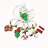 BJ-SHOP Anillo de Copa de Vino de Navidad Dije Copa de Vino para Navidad Marcador de Anillo para Decoraciones de Mesa de Bar de Fiesta de Navidad 6 Piezas