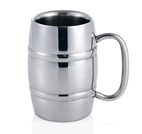 Beer mug, cup of tea / beer / coffee / coffee with stainless steel Isenretail, double wall design with large capacity of 550 ml