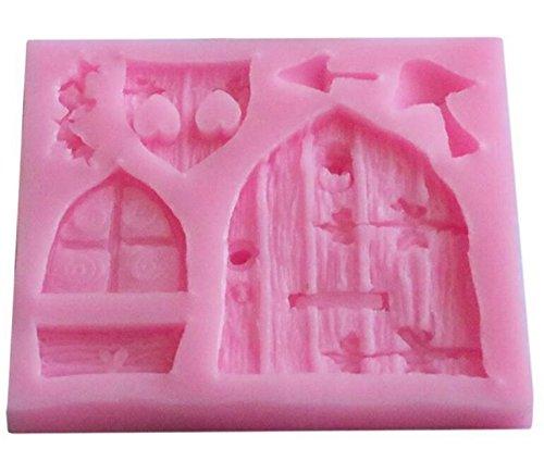 Kingken 3d Creative Fée Maison Porte en silicone Moule à gâteau Moule à chocolat outils (Rose)