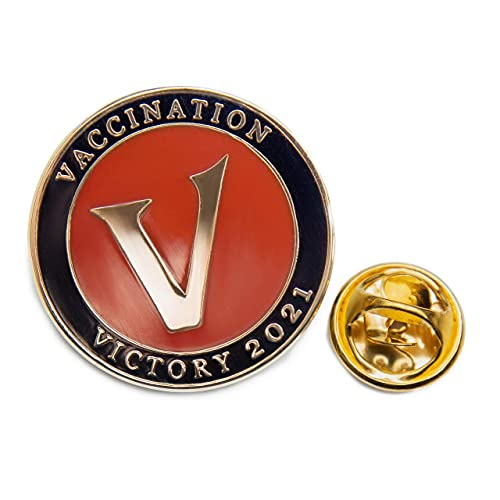 Vaccination Victory 2021 Covid Vaccinated 1.0 Inch-1 pcs High luster and Durable gold plated semi-cloisonne' enamel Lapel Pin-Unisex brooch for bag or Tee shirt