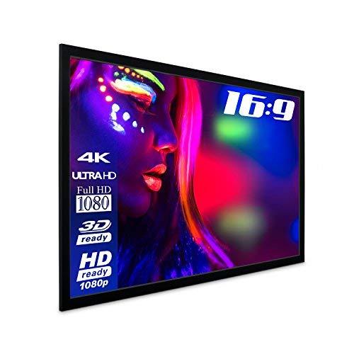 Esmart Economy Exf Rahmen-Leinwand [Gröÿenauswahl] 240 X 135 Cm (108\) | Format 16.9 | Vollmaskierung | Heimkino Beamer Projektionsleinwand Rahmen Leinwand LCD Led