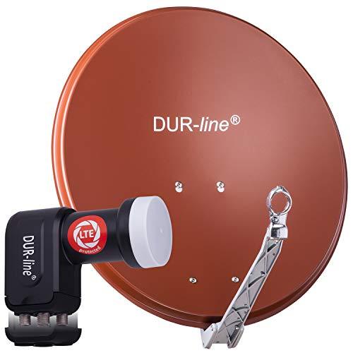 DUR-line 4 Teilnehmer Set - Qualitäts-Alu-Satelliten-Komplettanlage - Select 60cm/65cm Spiegel/Schüssel Rot + Quad LNB - für 4 Receiver/TV [Neuste Technik, DVB-S2, 4K, 3D]