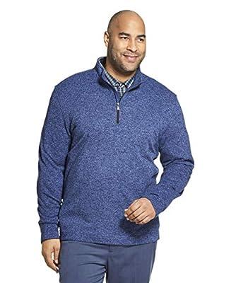 Van Heusen Men's Big & Tall Tall Flex Long Sleeve 1/4 Zip Soft Sweater Fleece, Blue Yonder, 2X-Large Big from Van Heusen