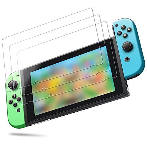 「3枚入り」Nintendo Switch対応 任天堂 スイッチ対応 保護フィルム 「日本旭硝子素材」 ブルーライトカット 保護フィルム iVoler 専用強化 ガラスフィルム 硬度9H 指紋防止 高透過率0.26mm ガラス飛散防止 自動吸着 気泡ゼロ 極薄