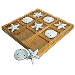 Table Top Tic-Tac-Toe Board Game | 9″ x 9″ Wood Board Game with Resin Starfish and Sand Dollars | Perfect for Beach Décor | Plus Free Nautical eBook by Joseph Rains