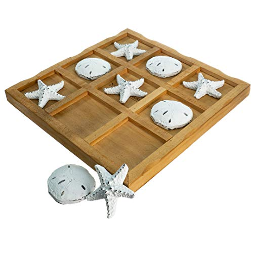 Table Top Tic-Tac-Toe Board Game | 9' x 9' Wood Board Game with Resin Starfish and Sand Dollars | Perfect for Beach Décor | Plus Free Nautical eBook by Joseph Rains