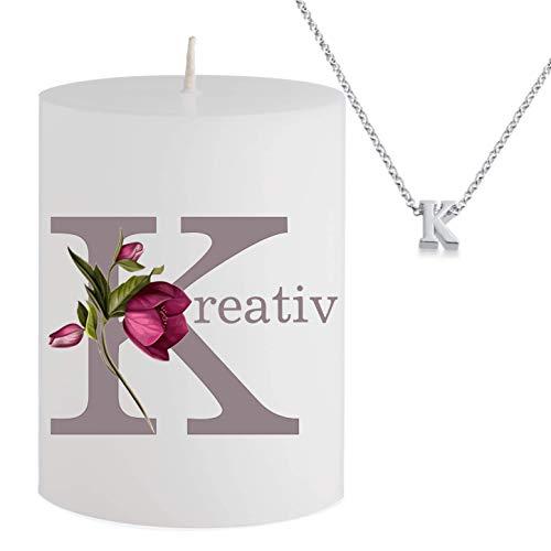 Spell Schmuck - Vela con Mensaje - k reativ- Collar Plateado Escondido con Letra K - Vela perfumada con Aroma de Cereza