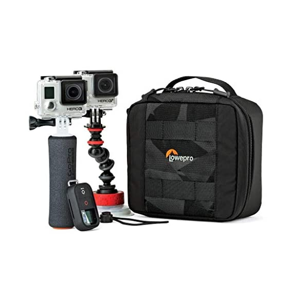 Lowepro LP36915 ViewPoint CS 40 - A Soft-Sided Protective Case for a Smartphone, GoPro or 360 Camera and Accessories… 10 Smart interior organization includes adjustable dividers, three with a built-in pockets to stash a backdoor, filter or remote (and keep it from scratching camera); plus a roomy zippered pocket for cables, backdoors, mounts, tools, manuals, etc.; top panel with built-in memory pockets; plus a padded panel with stretching webbing straps to organize and secure cables and mounts Super-portable design makes it easy to carry in a larger bag or carry by the grab handle. Exterior webbing straps provide extra carry and attach options.