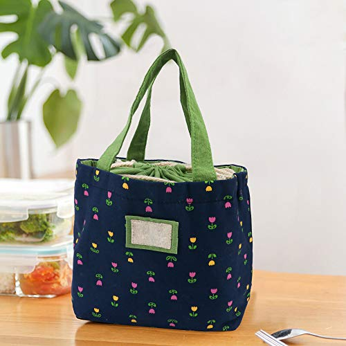 Fashion Women Handbags Totes Pack Reusable Lunch bag for Teen Girls kids in school office lady lunch bag fashion and fresh design- Blue lilac