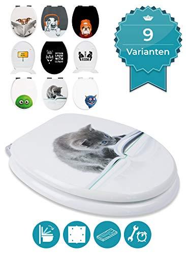Calmwaters® WC Sitz Katze Cat Content, Absenkautomatik, Fast-Fix-Befestigung aus Metall, universale O-Form, stabiler Holzkern Toilettendeckel, Komfort Toilettensitz lustig - 26LP5029