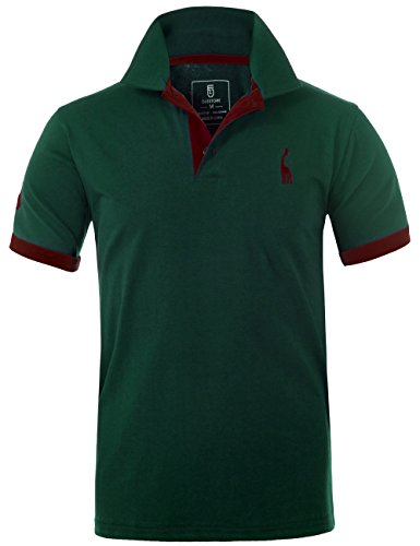 GLESTORE Herren Poloshirt Einfarbig Basic Kurzarm Polohemd T1-Grün M